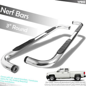 3 Ss Side Step Nerf Bars For 1999 2018 Chevy Silverado 1500 2500hd Extended Cab