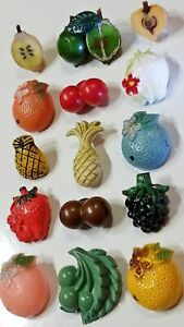 Antique Vintage Button Lot Plastic Celluloid Realistic Fruit Weeber And More
