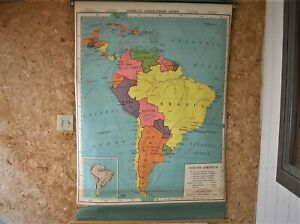 Vintage A J Nystrom Co South America Map School Pull Down Map 4 1957