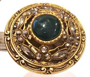 Antique Button Large Gay 90s With Hunter Green Jewel Loads Of Cut Steels