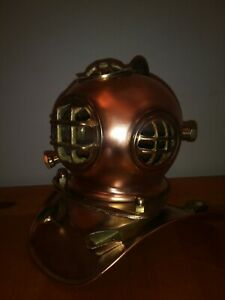 Vintage Us Navy Brass And Copper Deep Sea Diving Helmet