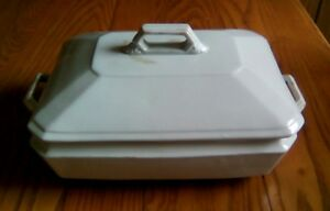 Antique White Ironstone China Tureen Lid H Alcock Co Dated 1884