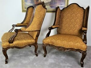 Exceptional Pair Of Marge Carson Palais French Louis Xv Wing Bergere Armchairs