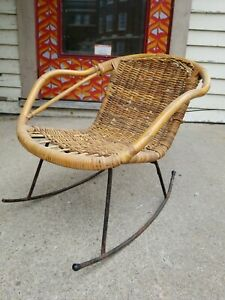 Mid Century Bentwood Wicker Rattan Wrought Iron 50s Childs Rocker Rocking Chair