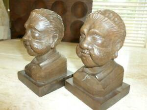 2 Vintage Wooden Hand Carved Bearded Man 5 1 4 Head Bust Bookends