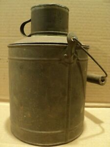 Early Antique 3 Piece Tin Lunch Pail Bucket With Wood Handle Drinking Cup