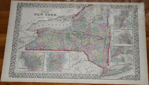 Original 1872 Huge New York State Mitchell S Atlas Map 23 4 X 15 2 Antique