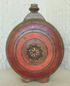 Old Antique Multicolor Hand Painted Wooden Rustic Bottle Canteen Flask Keg Cask