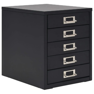 Vidaxl Filing Cabinet With 5 Drawers Metal Office Case Storage Box Black white