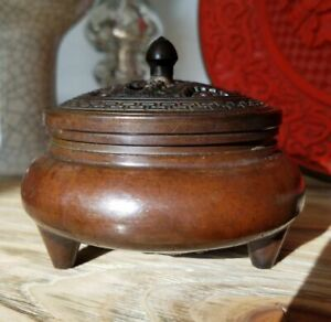 Very Fine Antique Chinese Bronze Incense Burner Ming Dynasty Dragon Mark Qing