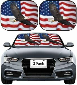 Front Windshield Sun Shade Window Uv Protector Car Truck American Flag