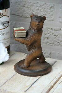 Antique Hand Black Forest Wood Carved Swiss Bear Statue Butler Cards