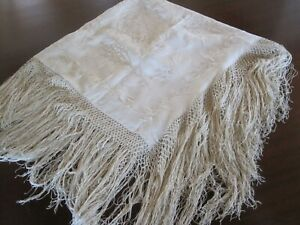 Gorgeous Antique Edwardian Victorian Ivory Silk Embroidered Piano Shawl W Fringe