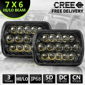 2pcs 7x6 7x5 45w 15 Led Sealed Beam Black Housing Headlight H6052 H6054 H6014