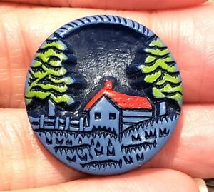 Vintage Button Uncommon Pictorial Buffed Celluloid House Cabin Fence Trees