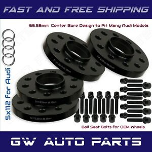 4 Black 20mm Audi 5x112 Hub Bore Wheel Spacer Kit 66 6mm Fit Q5 Sq5 W ball Bolts