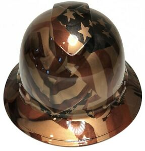Custom Hydro Dipped Hard Hat Ridgeline Full Brim Copper Metallic American Flags