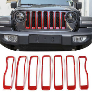 For Jeep Wrangler Jl 18 Red Front Grill Mesh Inserts Ring Cover Trim Rubicon