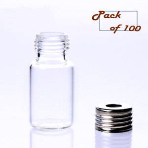 100 X 10ml Vials transparent Glass Headspace Vials With aluminum Screw Off Caps
