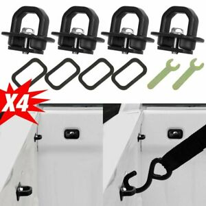 4x Car Accessories Tie Down Truck Bed Side Wall Anchors For Chevy Silverado Gmc