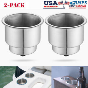 2pcs Stainless Steel Cup Drink Holder With Drain For Marine Boat Rv Camper Truck