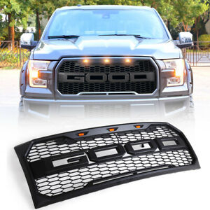 Fit For 09 14 Ford F150 New Raptor Style Front Bumper Hood Grill Grille W Led