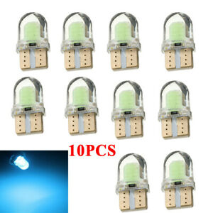 10pcs Silica Ice Blue T10 194 168 W5w Cob 8 Smd Led Canbus License Light 8000k