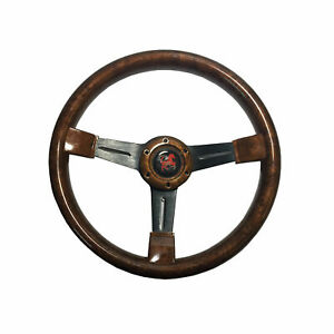 New Wood Grain Look Style 350 Mm 6 Hole Steering Wheel W Horn Button
