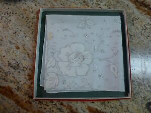 Vintage Handkerchief Linen Madeira Gift Quality Stitch 14 Boxed Marshal Field