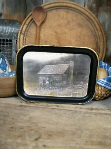 Small Antique Tin Toleware Tray W Old Photo Print Cabin Free Shipping