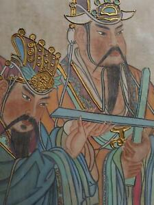 Antique Ming Dynasty Chinese Fresco Temple Painting Immortals Gilt Scroll