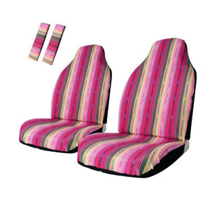 4pc Baja Pink Stripe Front Seat Cover Colorful Seat Protector Universal Fit