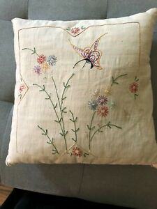Vintage Stitched Linen Pillow Butterfly And Flowers Feather Stuffed Ticking