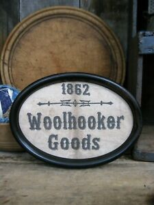 Cloth Woolhooker Goods Sign In Antique Tin Frame Free Shipping