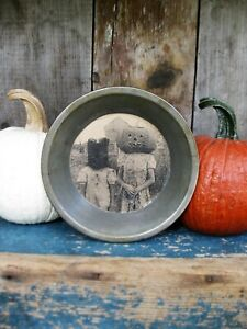 Antique Tin Child S 6 Pie Pan Old Photo Print Pumpkin The Cat Free Shipping