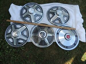 Lot Of Misc Vintage Hubcaps Ford Falcon Mustang Aluminum