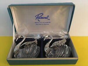 Raimond Crystal Silver Salt Pepper With Silver Spoons