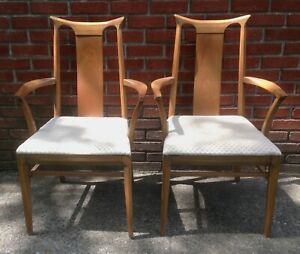 Pair Of Mid Century Solid Walnut Dining Arm Chairs Broyhill Drexel Scandinavian