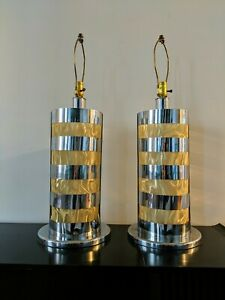 Pair Chrome Cylinder Large Table Lamps Mid Century Hollywood Regency Vintage