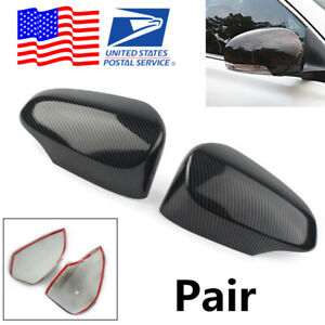 For Toyota Corolla 2pcs Glossy Carbon Fiber Look Rear View Side Mirror Covers Us