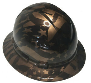 Hydro Dipped Custom Hard Hat Ridgeline Full Brim Copper Metallic Midnight Flags