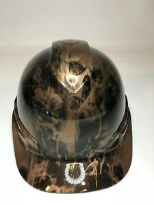 Hydro Dipped Custom Hard Hat Ridgeline Cap Style Copper Metallic Flaming Skulls
