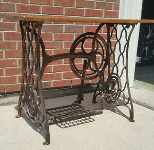 Antique Singer Sewing Machine Table Late 1893 Bronze Finish Very Heavy