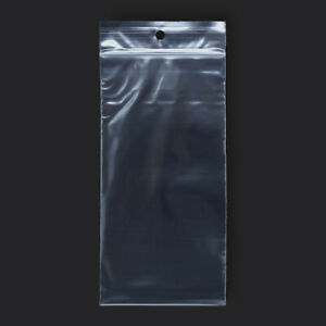 100 Pack 3 X 6 Reclosable Clear Plastic Zipper Bags 2 Mil With Hang Hole