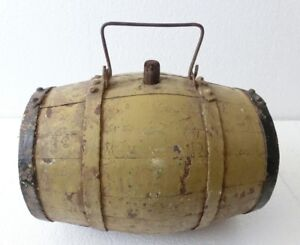 Old Antique Wooden Keg Cask Barrel Flask Canteen 4 Iron Band Old Yelow Paint
