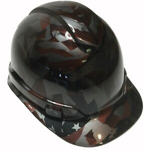 Hydro Dipp Custom Hard Hat Ridgleine Cap Style Metallic Graphite American Flags