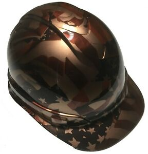 Hydro Dipped Custom Hard Hat Ridgeline Cap Style Copper Metallic American Flags