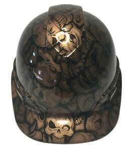 Hydro Dipped Custom Hard Hat Ridgeline Cap Style Copper Metallic Insanity Skulls