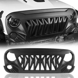 Front Matte Black Shark Grille Grill Grid For 07 18 Jeep Wrangler Jk Jku Abs