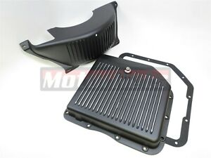 Chevy Black Aluminum Th 350 Turbo 350 Transmission Pan flex plate Dust Cover Kit